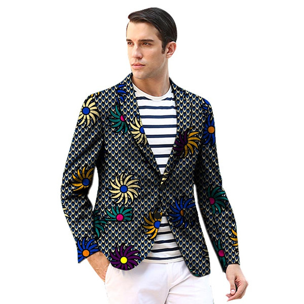 African clothing men's print blazers slim fit ankara fashion suit jackets customized for wedding wear male formal jacket