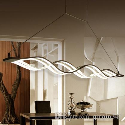 Compre 120cm Negro Modernas Lámparas Colgantes Para Comedor Cocina Sala De  Estar Regulable LED Colgantes De Forma De Onda De La Lámpara Lamparas A ...