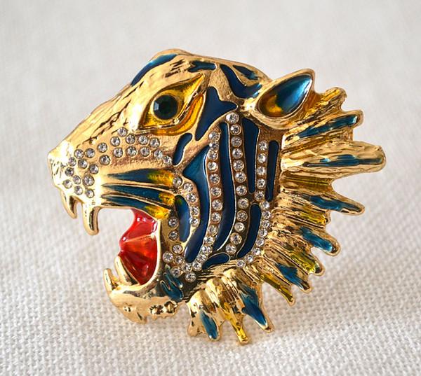 trasporto libero 6 pc / lotto gioielli accessori moda in metallo smaltato tigre spille testa per le donne
