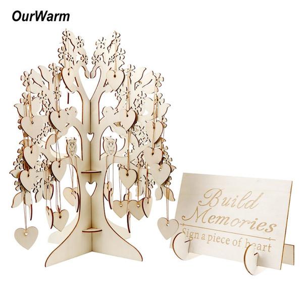 OurWarm Legno Albero Wedding Guest Book Guest Book 3D Wishing Tree cuori di legno ciondolo ornamenti di goccia per nuziale della festa