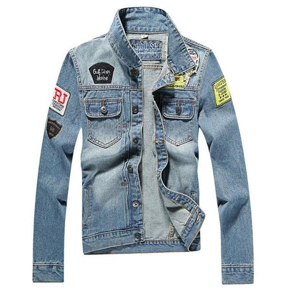 Mens Denim Coat Fashion Causal Designer Man Medium-Long Autumn british style Slim Jacket Ripped Holes Mens blue Jean Jackets Male Size M-4XL