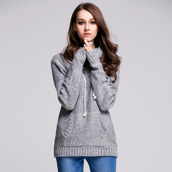 Casual Thick Long Sleeve Winter Knitted Sweater Solid Gray Party Club Clothing Women Fashion Pullovers Sweaters Jumper Hoodies Pocket