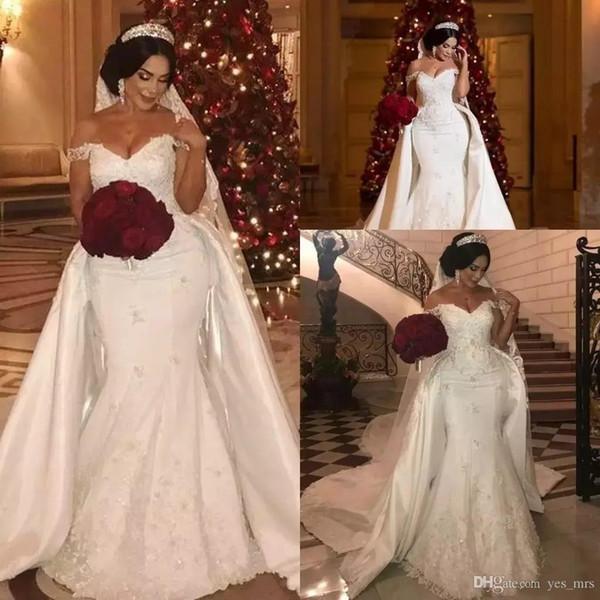 Dubai African Plus Size Mermaid Wedding Dresses Off Shoulder Lace Appliques Beads Overskirts Detachable Train Formal Bridal Gowns
