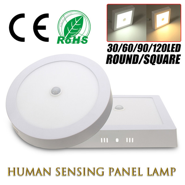 Smuxi Body Sensing LED Downlight Forma cuadrada redonda LED Down Light Techo empotrado Spot Light White Warm White