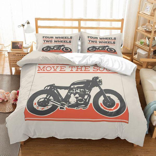 Juego de fundas nórdicas con funda nórdica gris con estampado de 2 motocicletas en negro de 3 piezas Teens Home Two 3D Move Your Soul con 2 fundas de almohada