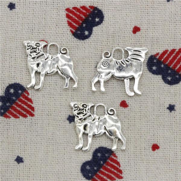 119pcs Charms dog pug 20*22mm Pendant, Tibetan Silver Pendant,For DIY Necklace & Bracelets Jewelry Accessories
