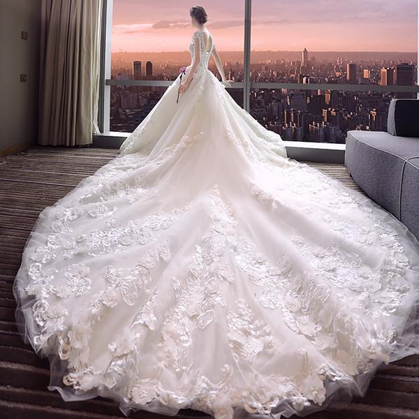 New Wedding Dress Bride V Collar Long Shoulder Gongtinghebenqi light white Mori line female