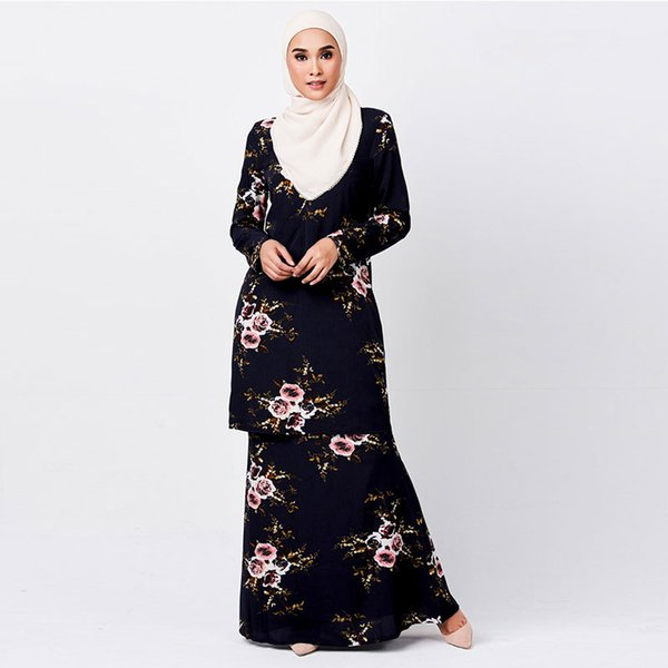 Female Floral Printed 2pcs Dress Muslim Summer Plus Size Suits Women Casual Chiffon Clothing