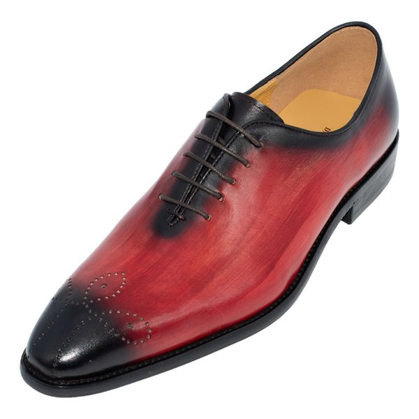 Hombres hechos a mano zapatos de vestir de cuero genuino Diseño italiano de alta calidad Marrón Azul Color Pulido a mano zapatos de boda con punta acentuada