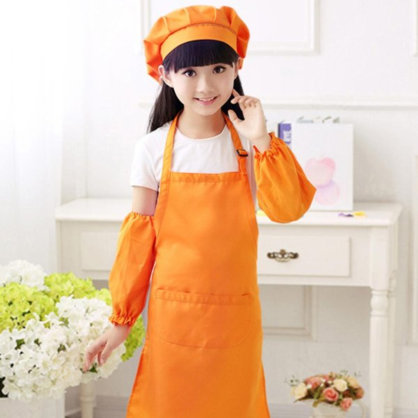 Kitchen Apron for Kids Children Play Pretend Apron Set Kitchen Pastry Chef Clothing with Hat 2018 new arrival - L