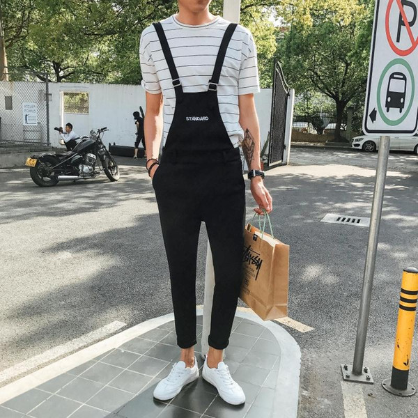 2019 New Japanese Hipster Style Overalls Mens Bib Overalls Casual Wild Jumpsuits Man Suspender Pants Large Size 2XL 3XL