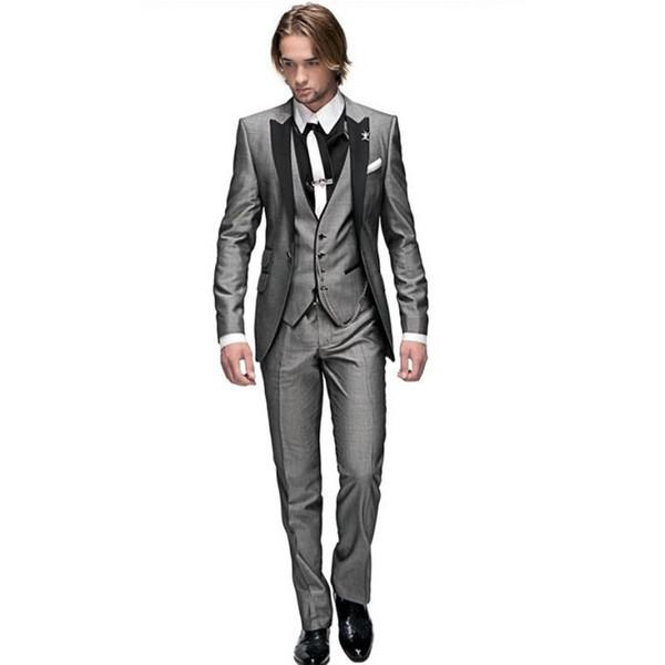 New Style Slim Fit Groom Tuxedos Light Grey Best man Peak Black Lapel Groomsman Men Wedding Suits Bridegroom (Jacket+Pants+Tie+Vest) J296
