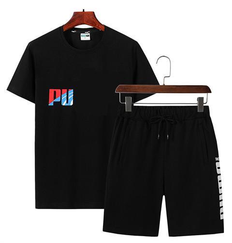 Chándal de verano para hombre Chándal Moda deportiva Traje Jersey Manga corta Ropa deportiva con etiqueta patrón más el tamaño L-5XL