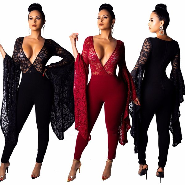 Super Big Flare Sleeve Sheer Lace Jumpsuit Women Sexy Deep V Neck Romper Night Club Overalls Party Outfits Bodysuit Black Burgundy