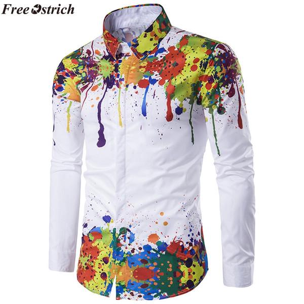 Magliette di vestito da uomo FREE OSTRICH 3D 2019 Camicia da uomo / donna nuova di zecca slim fit Camicia a inchiostro dipinta a maniche lunghe casual Camisa
