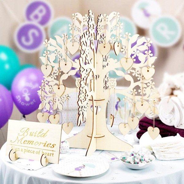 Economici festa fai da te decorazioni rustiche libro di nozze set ospiti visita firma albero Guest book wooden cuori ornamenti fai da te matrimonio albero familiare