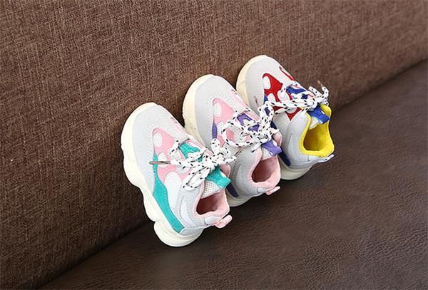 Enfants Chaussures Bébé Fille Garçon Enfant En Bas Âge Casual Chaussures De Course Chaussures Fond Doux Confortable Couture Couleur enfants baskets chaussures enfants DHL FJ264