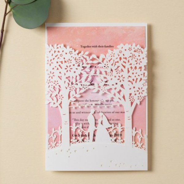 Wishmade White Wedding Invitations Cards With Blank Laser Cut Trees Bride And Groom and Elegant Pink Inner Card, Customizable AW7069