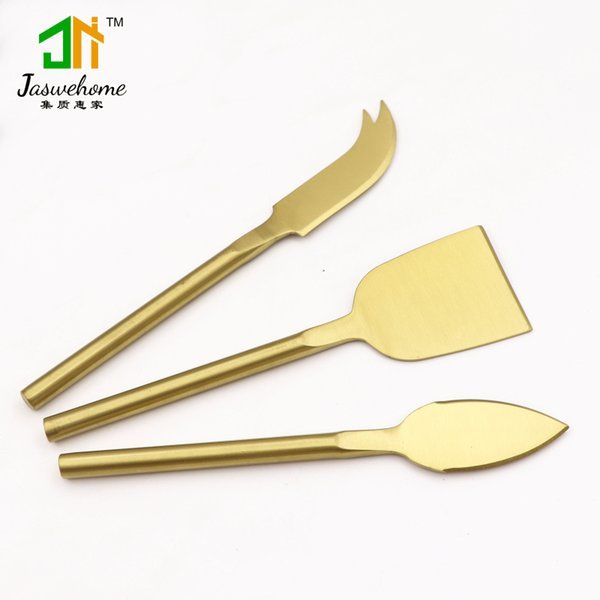 3pcs Gold Plated Stainless Steel Cheese Knife Set Cheese tools Cheese Slicer Cutter Sets