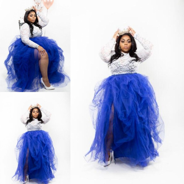 White And Royal Blue Prom Dresses Two Pieces Plus Size Evening Gowns Lace Top And Tutu Skirt Ruffles Split Cheap Formal Party Dress