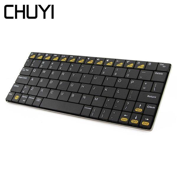 CHUYI Bluetooth 3.0 Wireless Keyboard Ergonomic Ultra-thin Mini Computer BT Keypad For MacBook PC Laptop Tablet