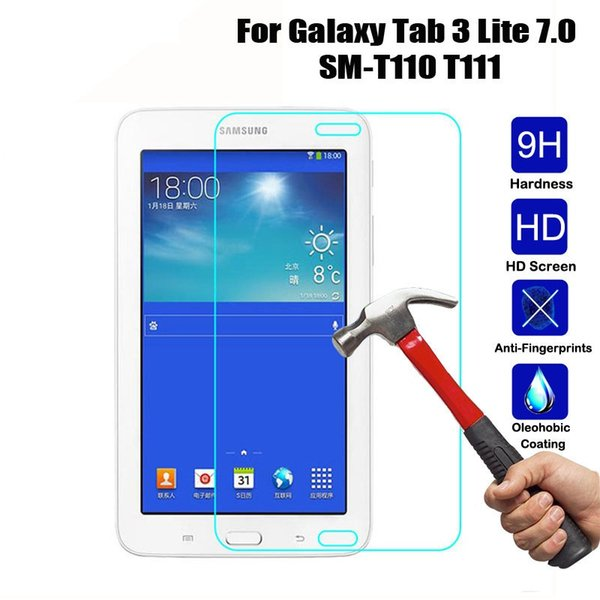 Película protectora de pantalla de vidrio templado para Samsung Galaxy Tab 3 Lite T110 / T116 / T111 E 9.6 / T560 A 7.0 / T280 / T285