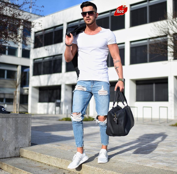 Men Ripped Holes Jeans Zip Skinny Biker Jeans 2018 New Fashion Blue Slim Hip Hop Men Pants Biker O8R2