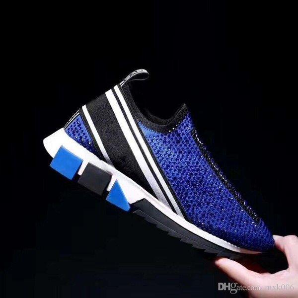 Rhinestones kristaller Erkek spor ayakkabıları ile Tasarımcı Kadın sorrento spor ayakkabısı siyah beyaz kırmızı parıltı Runner Düz Koşu 069 örgü germek