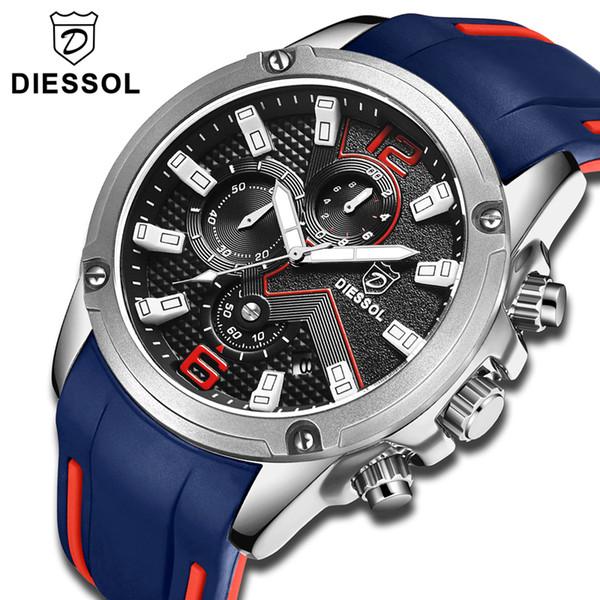 DIESSOL Men's Fashion Sports Quartz Watch Mens Watches Top Brand Luxury Rubber Band Casual Waterproof Army Wrist Watch