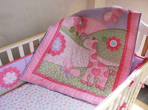 Fashion Pink deer Girl Baby bedding set crib sheet appliqued comforter Cot bedding set 7Pcs Crib bedding set