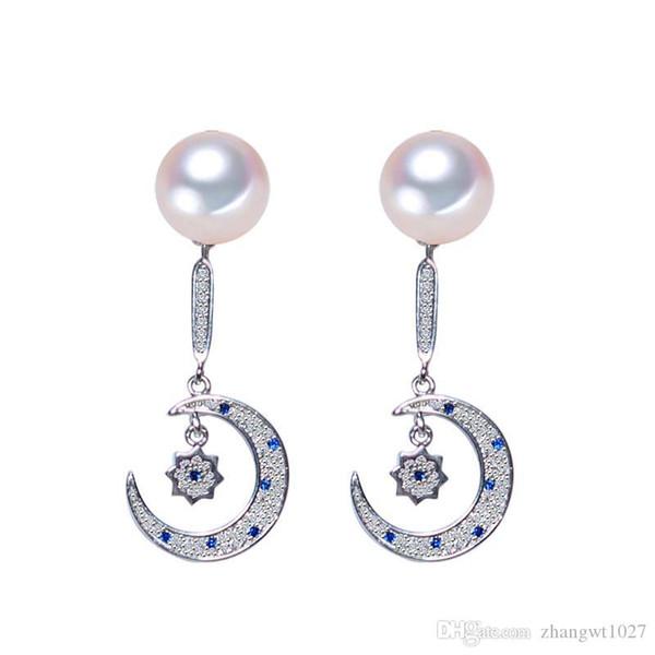 NUOVI orecchini di orecchini di perle per le donne 7-8mm orecchino di perla d'acqua dolce naturale 925 sterling-argento-gioielli