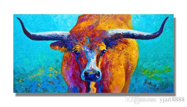 Yağlıboya Texas Longhorn Çerçevesiz Modern Tuval Duvar Sanatı Ev ve Ofis Dekorasyon için, Hayvan, Çerçeve boyama