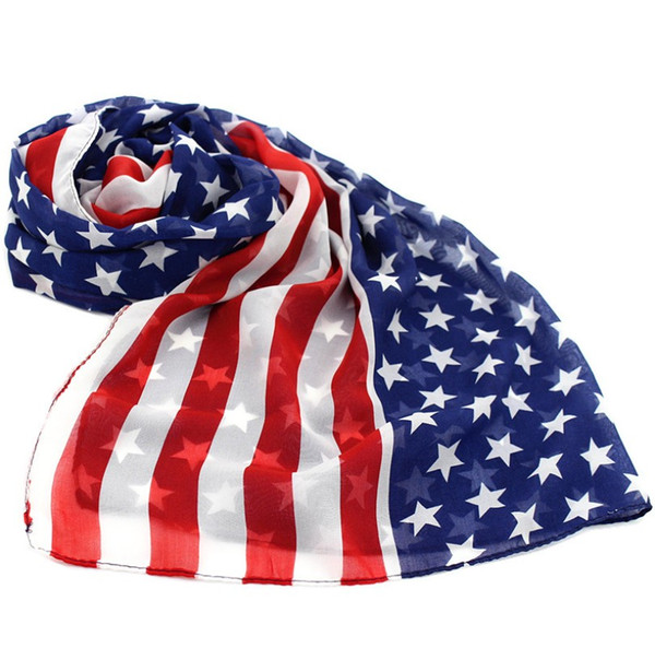 Bandera americana Estrella-Spangled Banner alargado bufanda de gasa venta al por mayor chal dama Sailor Dance bufanda verano moda envuelve 160 * 70 cm