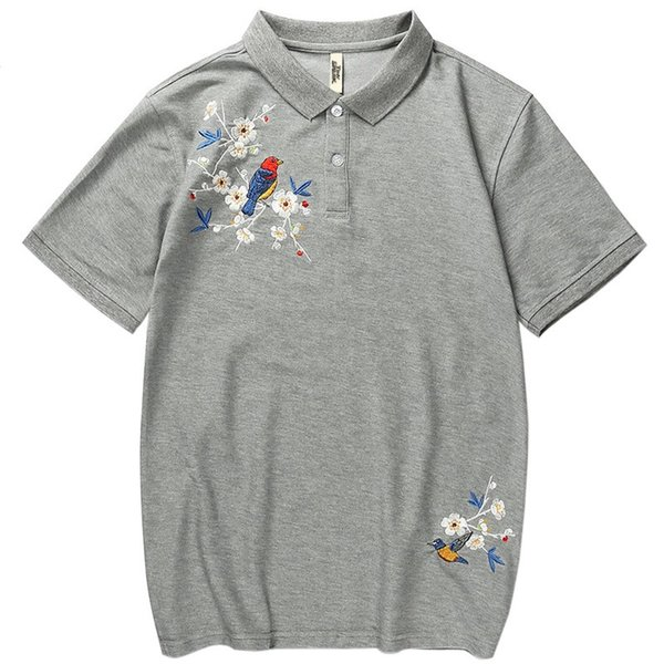 Polo para hombre Hip Hop Streetwear Bordado floral PoloShirt Verano 2019 Poloshirt negro Camisa casual de algodón de manga corta