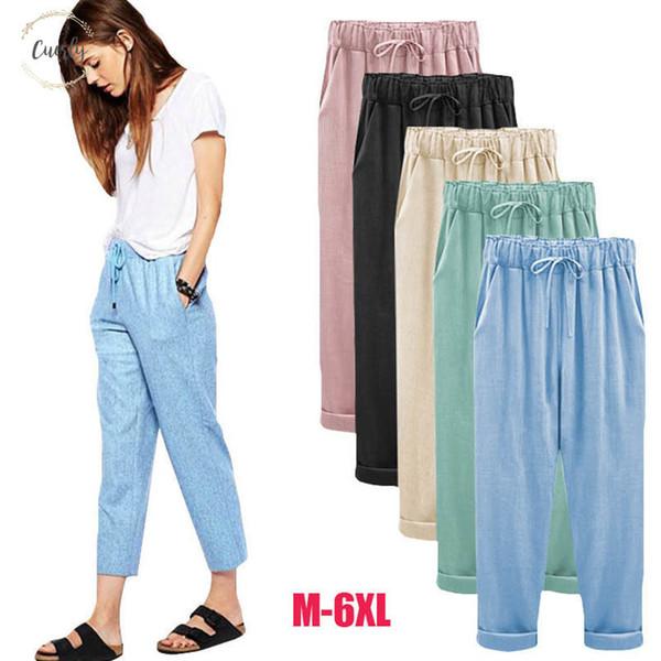 Leg Frühling Hosen-Harem Hose Weibliche Hose-beiläufige breite Sommer lose Baumwollwäsche Overalls Pants Plus Size