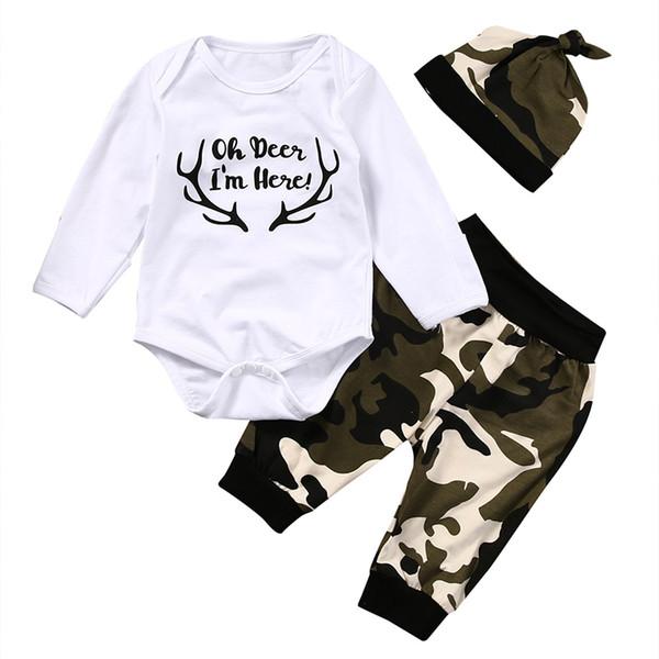 2018 newborn kids baby boys 3pcs outfits set bodysuit long sleeve camo harem pants hat cute autumn fashion new sale 0-12m thumbnail