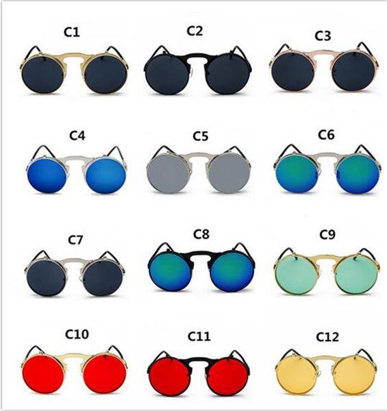 200pcs Flip Up Steampunk Sunglasses Men Round Vintage Mens Sunglass Brand Designer Glasses J173