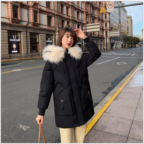 2019 women winter jacket thick sonw wear outerwear coat with hooded fur collar Parka Female Cotton Long Warm student ClothingZ69
