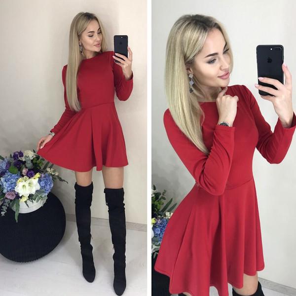 Printemps Casual femmes O-cou Fit et poches Flare à manches longues Vintage Mini mignonne de partie mince robe noire couleur rouge Vestidos