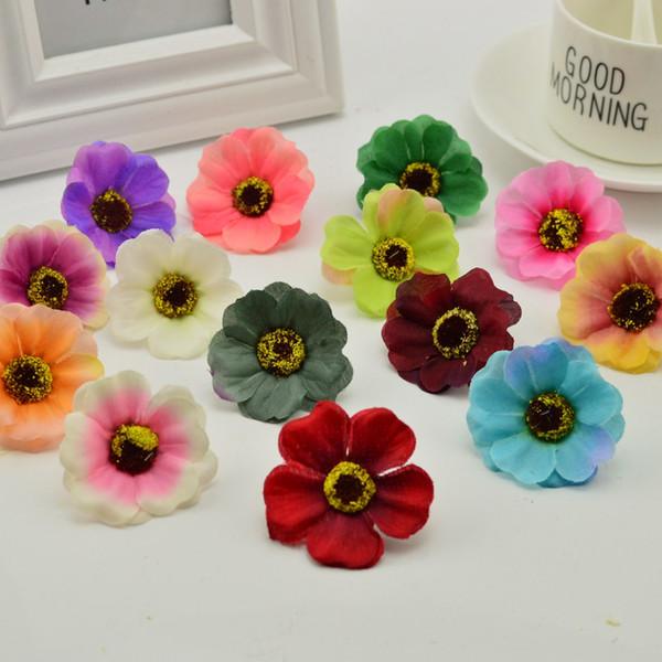 50pcs billig Kunstblumen aus Seide Kirsche für Kunsthandwerk Heim Hochzeitsdekoration DIY Geschenk Stamens für Hand Chrysantheme
