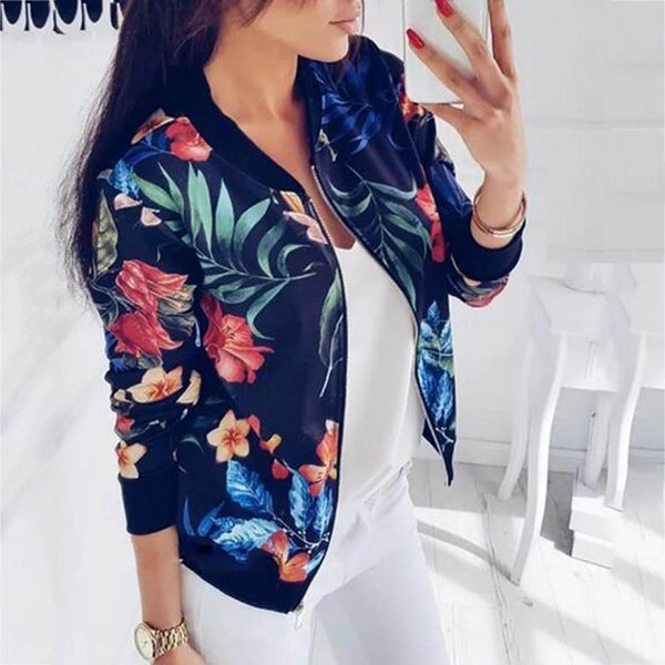 Women Jackets Flower Floral Print Retro Ladies Zipper Up Short Thin Slim Bomber Jacket Coats Fashion Basic Casual Outerwear