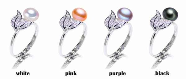 Pearl jewelry Fashion 100% natural 7-8 mm Freshwater pearl rings 925 sterling silver jewelry ring For Women gift