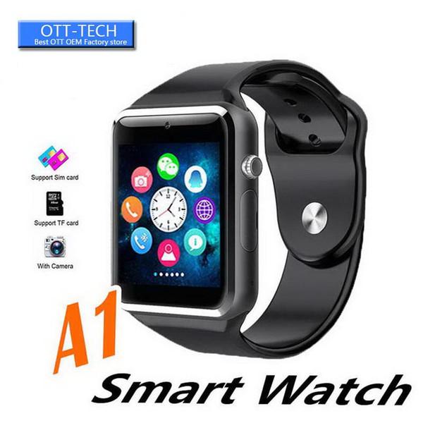A1 Clock Sync SIM TF notificateur support carte à puce Montres Smartwatch Clever Watch Phone Sport Podomètre Tracker Femmes Hommes Smartwatch