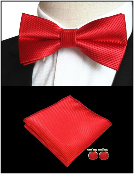 New Classic Fashion Stylish Woven Men/'s Bow Tie Red Stripes Matching Hanky