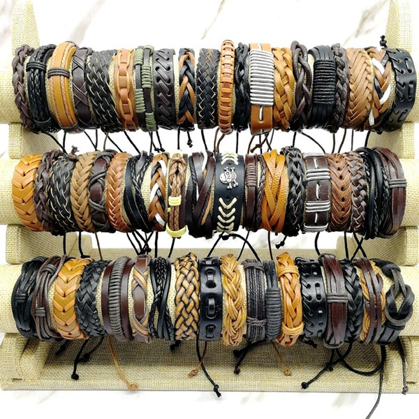 top popular Lots 50pcs lot charm Cuff Bracelets Mix Styles Metal handmade retro leather bangle Men's Women's Jewelry Gifts 2021