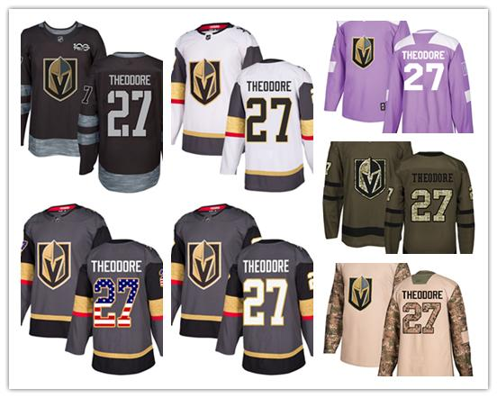 Vegas Golden Knights jerseys #27 Shea Theodore jersey ice hockey men women gray white black Authentic winter classic Stiched gears Jersey