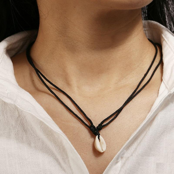 Women Retro hot style new single shell pendant necklace leather string choker simple hand-woven jewelry adjustable chain