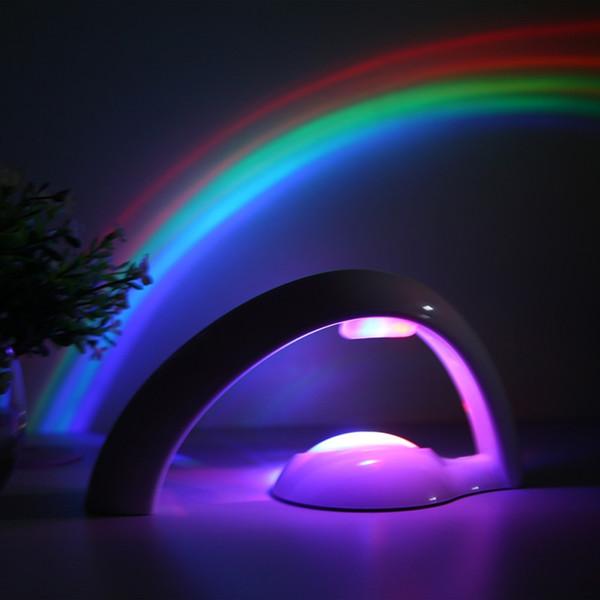 Novità LED Colorato arcobaleno Luce notturna Cielo romantico Arcobaleno Lampada proiettore Luminaria Camera da letto a led
