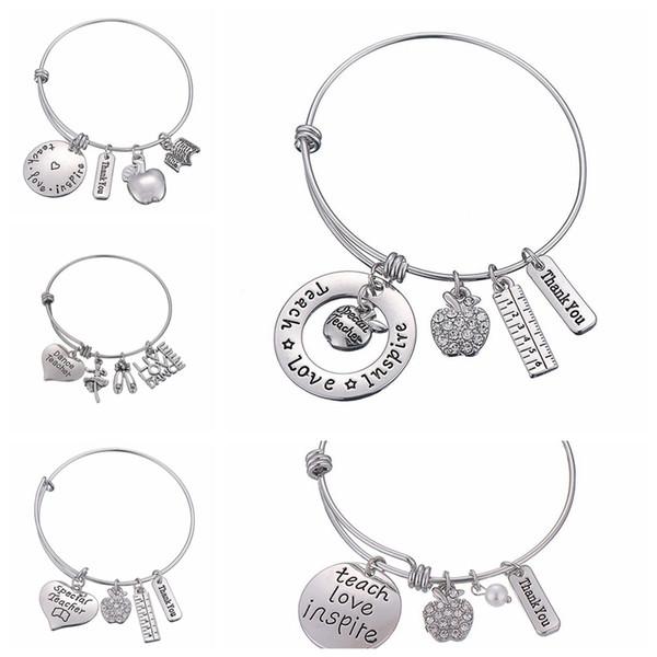 Lettres Bracelet Cadeaux Cadeau Du Jour Des Enseignants Bracelet Amour Inspirer Enseigner Bracelets Charm Pendentif Professeur Bijoux Faveur GGA2004