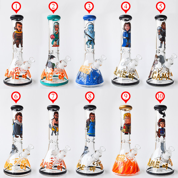 """12"""" 7MM thick Glass Bong Beaker Bong Game of Thrones Water Pipes Dab Rig Smoke Pipe Glass Pipe oil rig with glass bowl"""